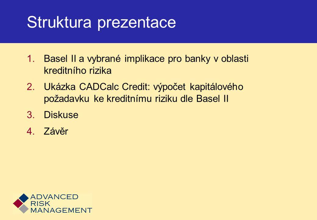 Struktura prezentace Basel II a vybrané implikace pro banky v oblasti kreditního rizika.