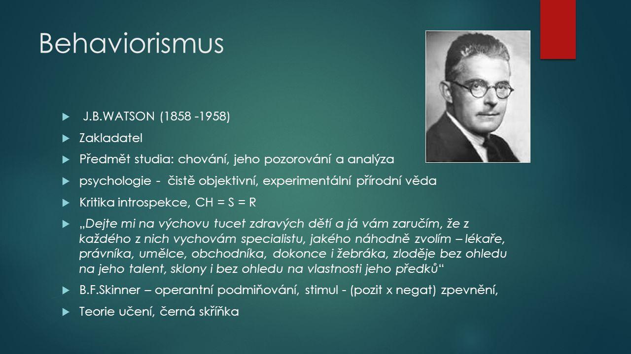 Behaviorismus J.B.WATSON (1858 -1958) Zakladatel