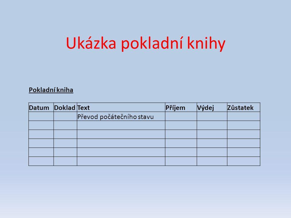 Ukázka pokladní knihy Pokladní kniha Datum Doklad Text Příjem Výdej