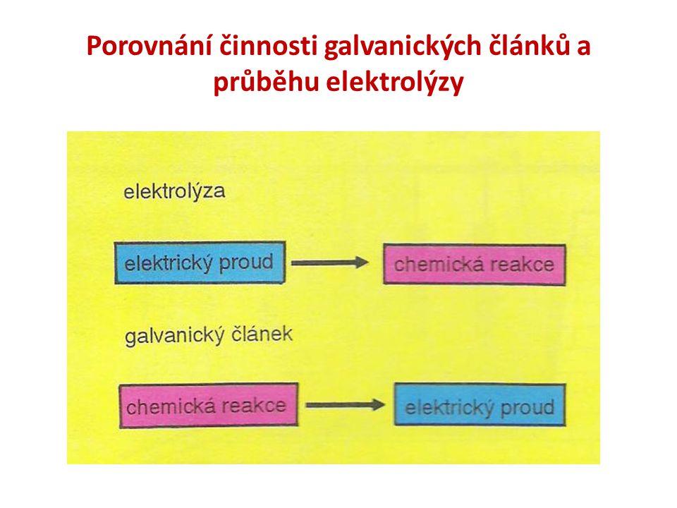 Porovnání činnosti galvanických článků a průběhu elektrolýzy
