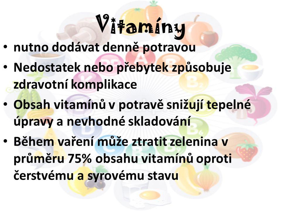Vitamíny nutno dodávat denně potravou