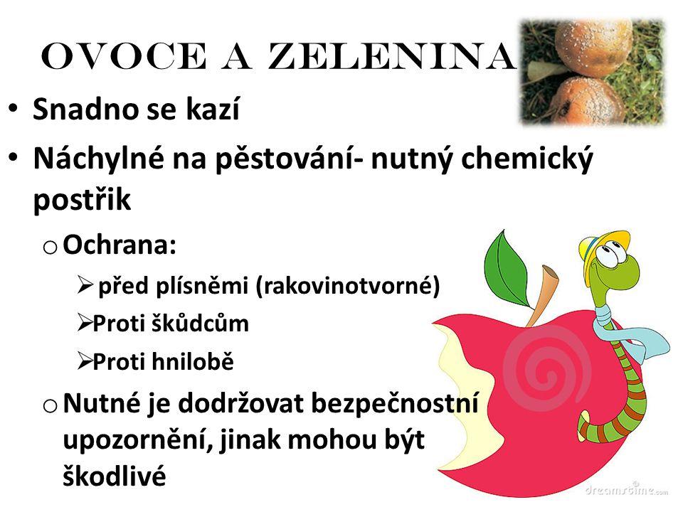 Ovoce a zelenina Snadno se kazí