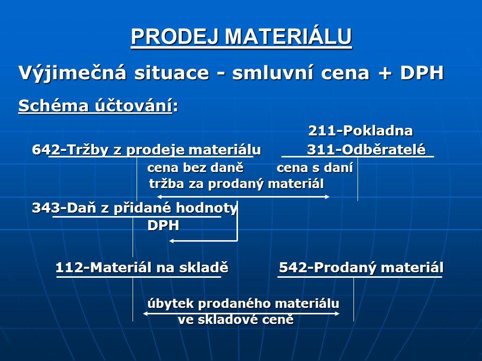 PRODEJ MATERIÁLU Výjimečná situace - smluvní cena + DPH 211-Pokladna