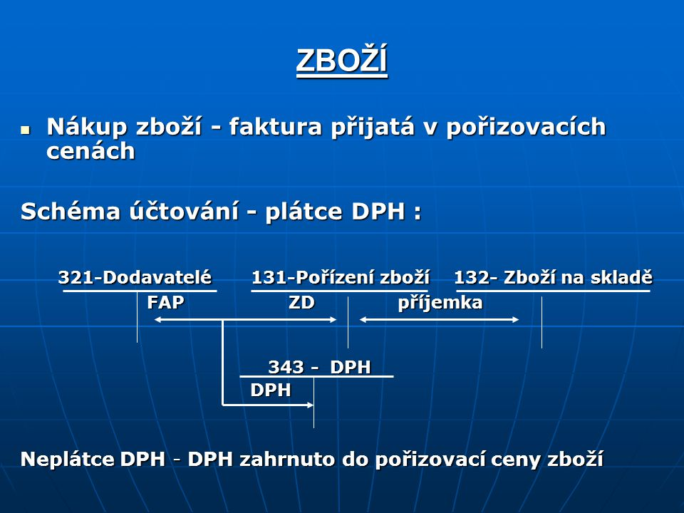 ZBOŽÍ 321-Dodavatelé 131-Pořízení zboží 132- Zboží na skladě