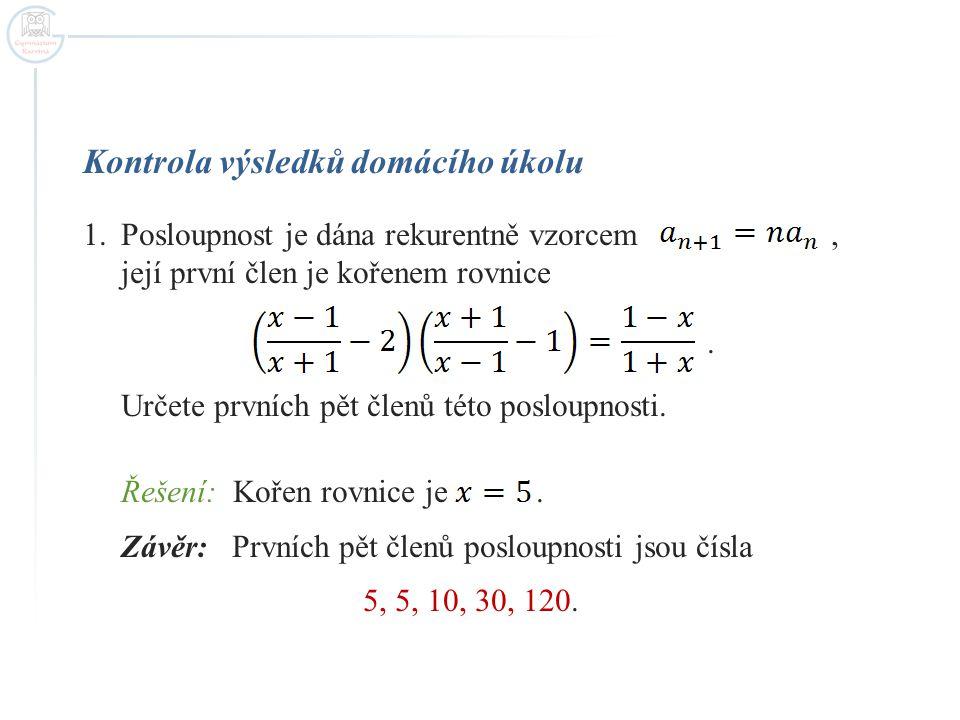 Kontrola výsledků domácího úkolu