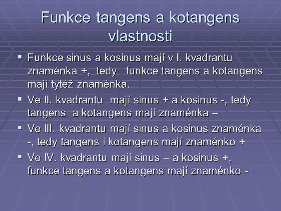 Funkce tangens a kotangens vlastnosti