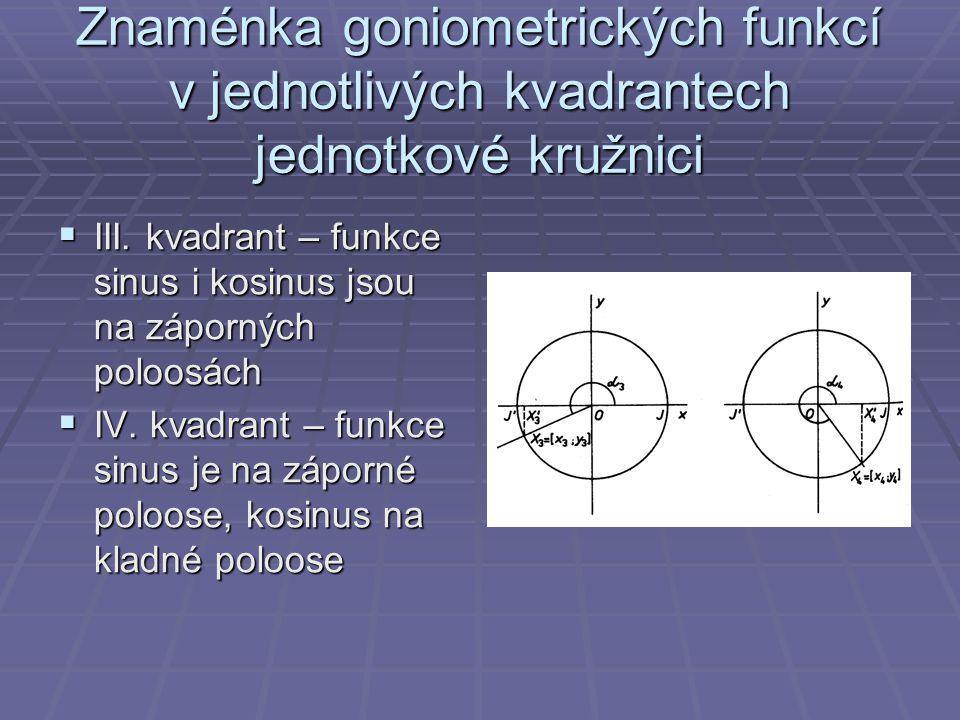 Znaménka goniometrických funkcí v jednotlivých kvadrantech jednotkové kružnici
