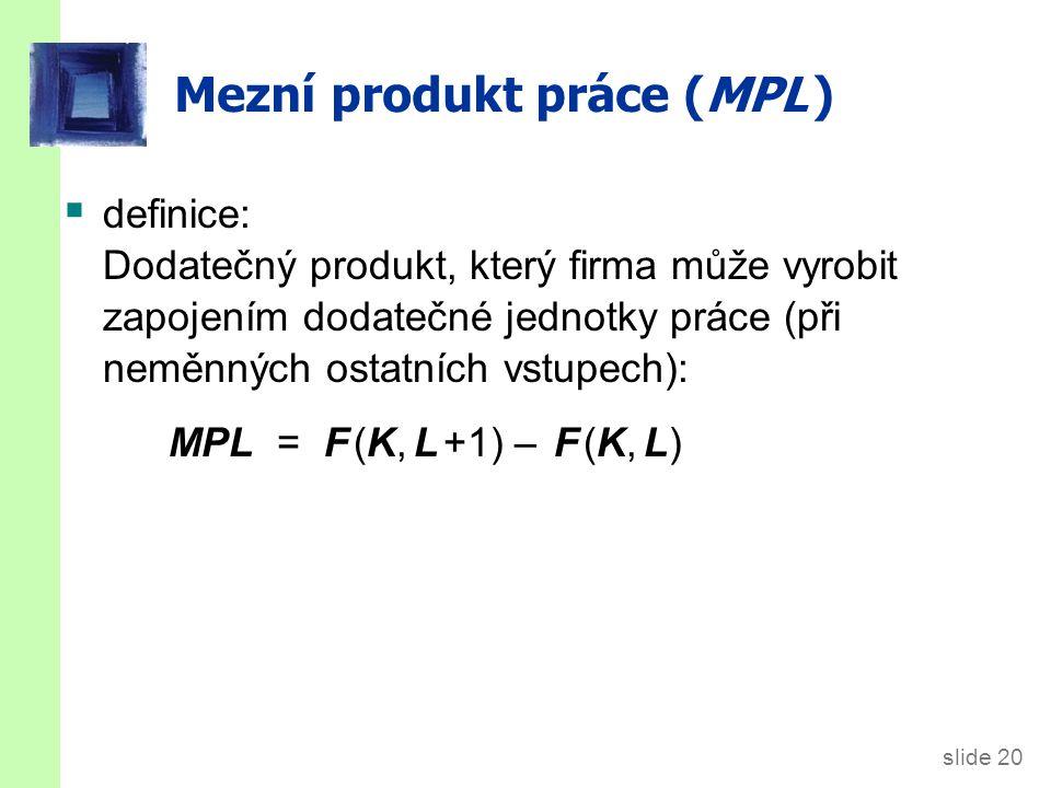 MPL a produkční funkce Y výstup L práce MPL 1