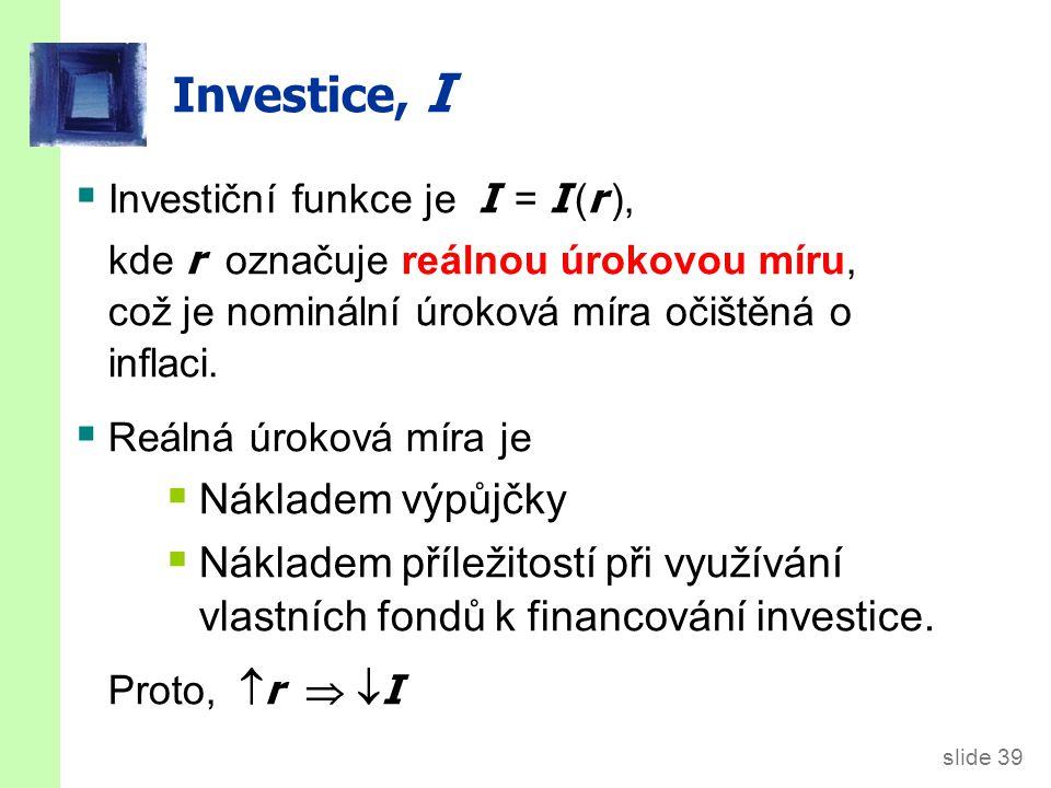 Investiční funkce r I Výdaje na investiční statky závisí negativně na reálné úrokové míře. I (r )