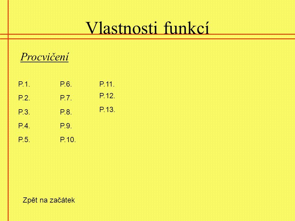 Vlastnosti funkcí Procvičení P.1. P.6. P.11. P.12. P.2. P.7. P.13.