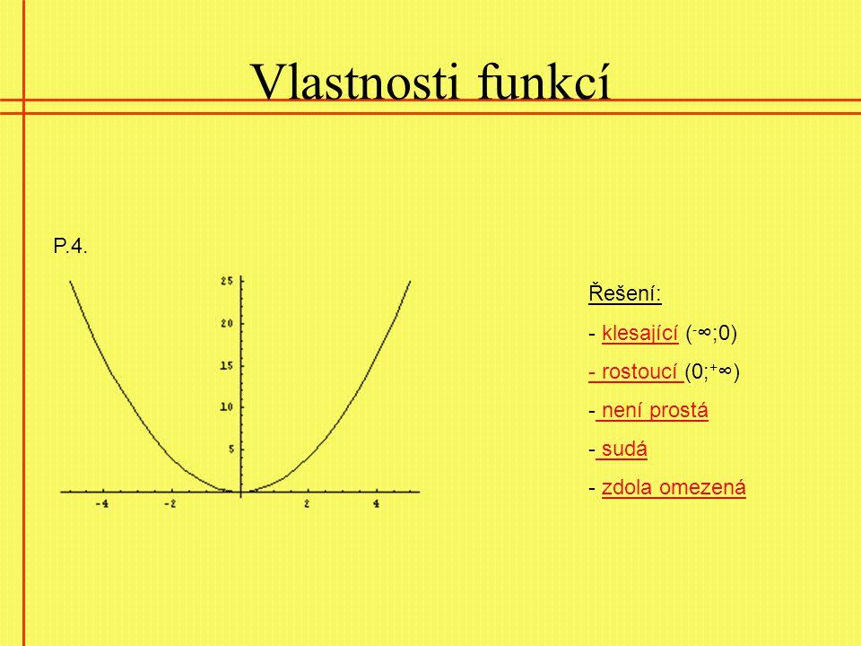 Vlastnosti funkcí P.4. Řešení: - klesající (-∞;0) - rostoucí (0;+∞)