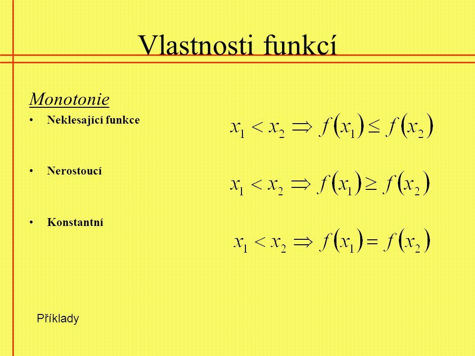 Vlastnosti funkcí Monotonie Neklesající funkce Nerostoucí Konstantní