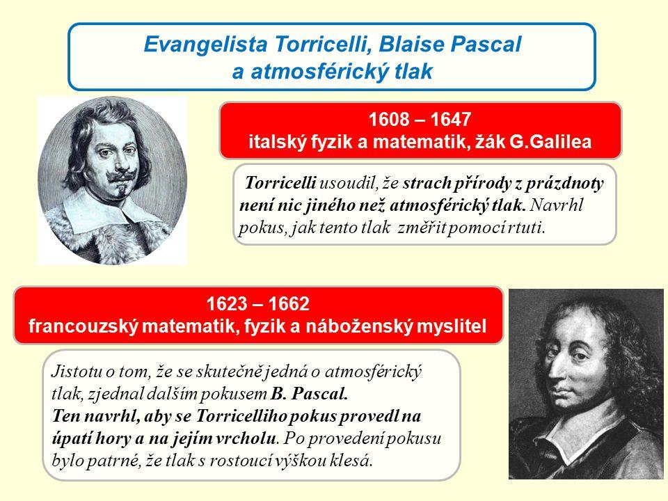 Evangelista Torricelli, Blaise Pascal a atmosférický tlak