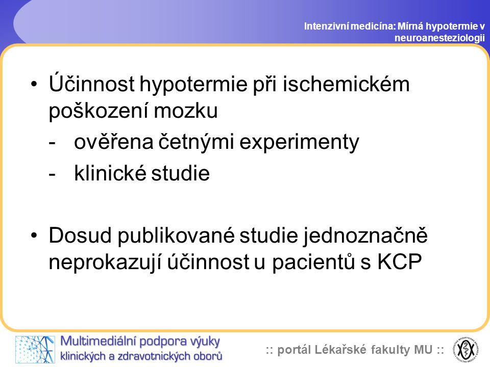Účinnost hypotermie při ischemickém poškození mozku