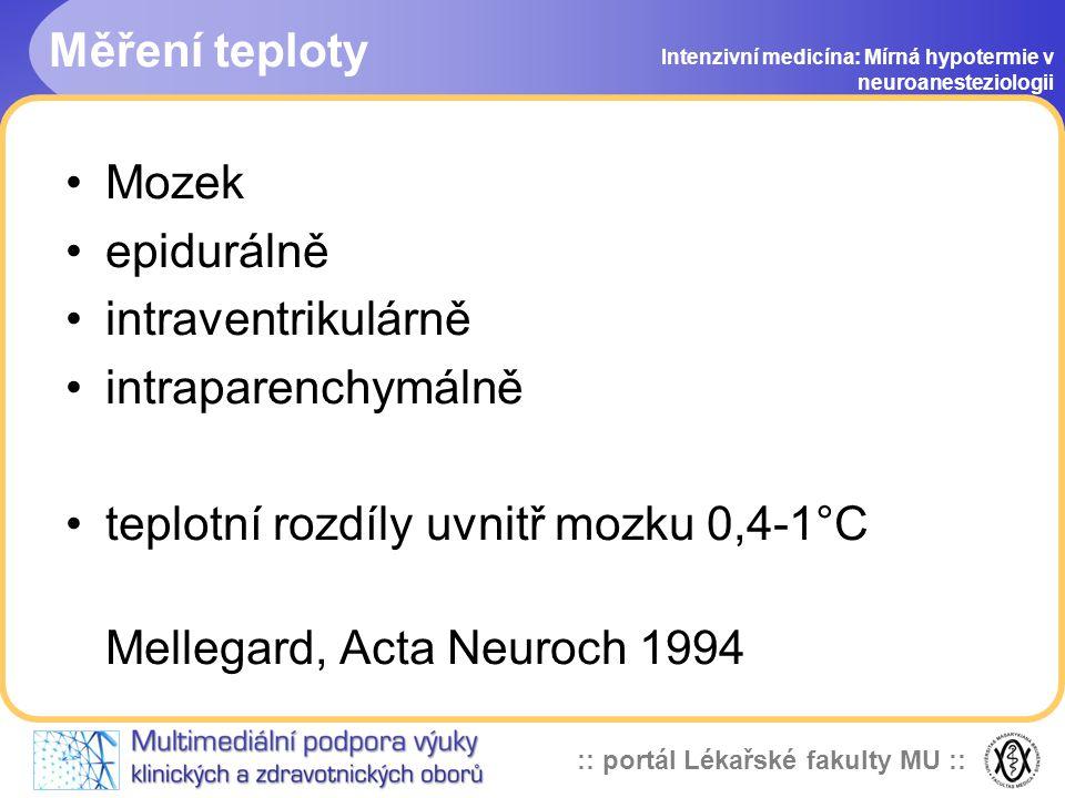 teplotní rozdíly uvnitř mozku 0,4-1°C Mellegard, Acta Neuroch 1994