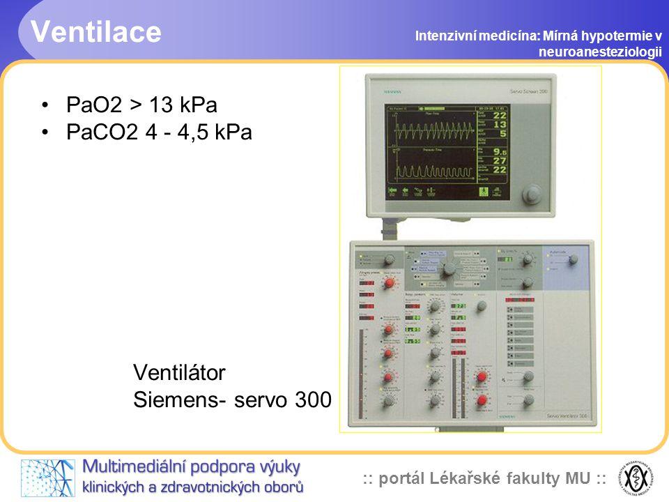 Ventilace PaO2 > 13 kPa PaCO2 4 - 4,5 kPa Ventilátor