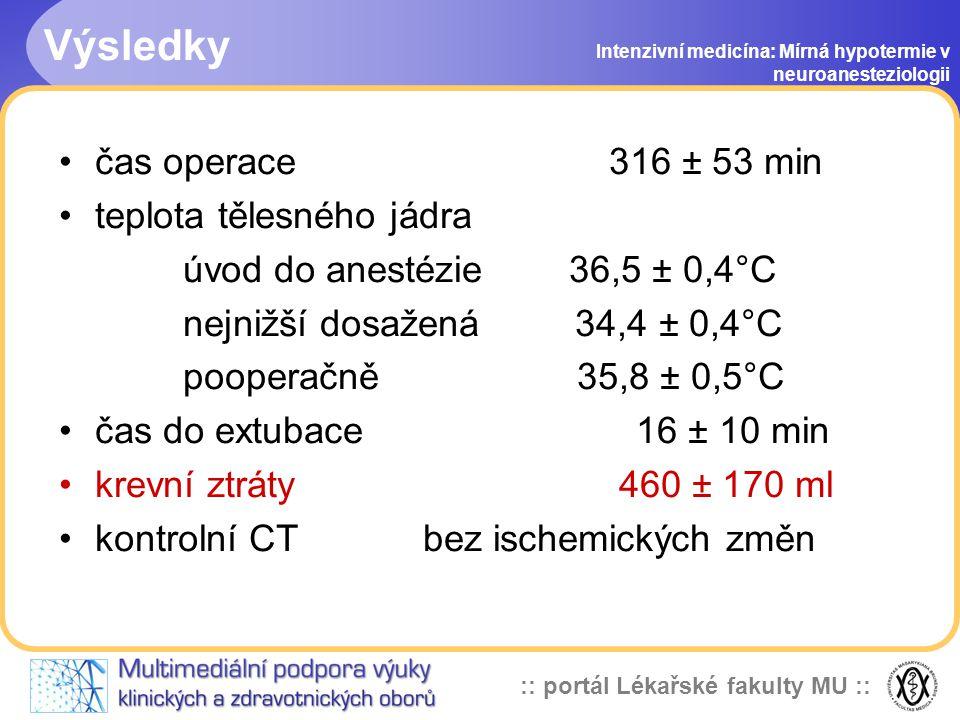 Výsledky čas operace 316 ± 53 min teplota tělesného jádra