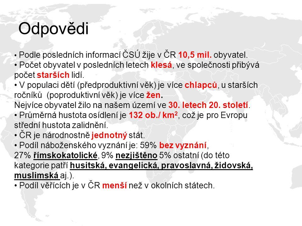 Odpovědi Podle posledních informací ČSÚ žije v ČR 10,5 mil. obyvatel.