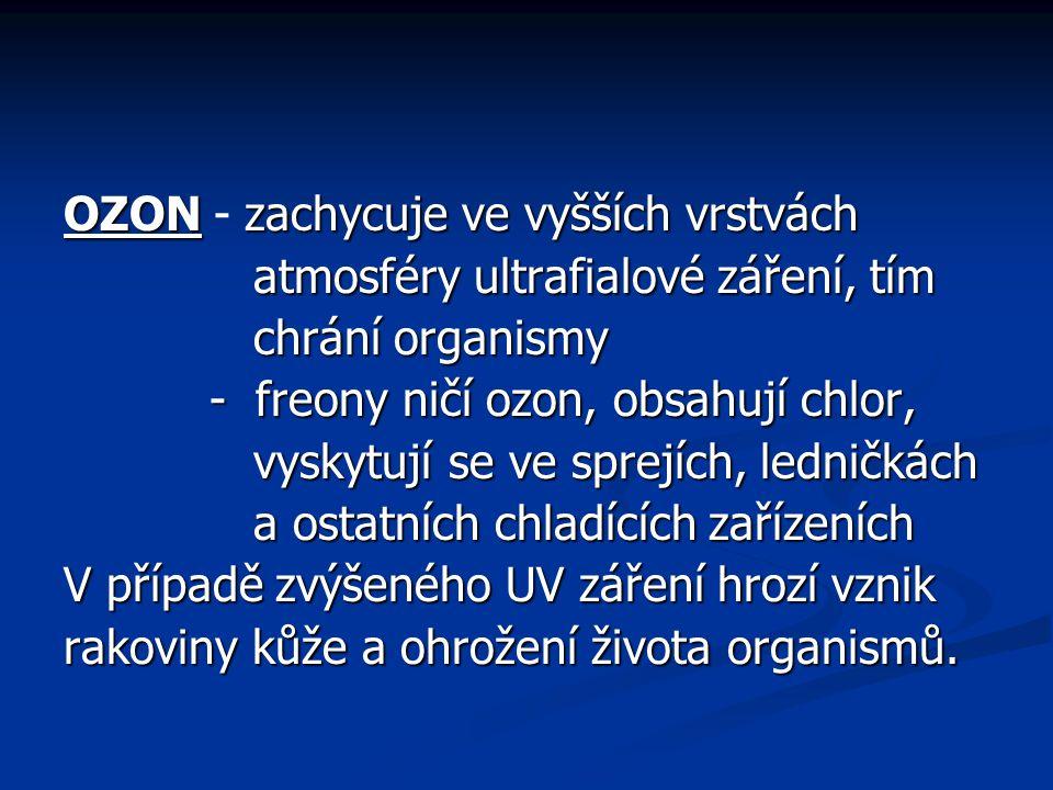 OZON - zachycuje ve vyšších vrstvách