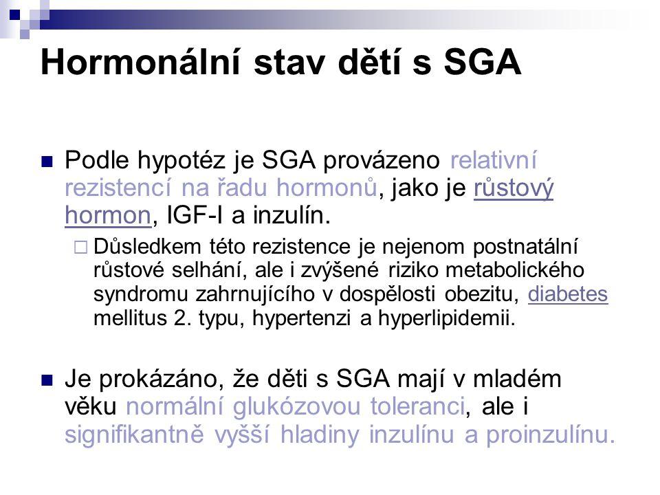 Hormonální stav dětí s SGA