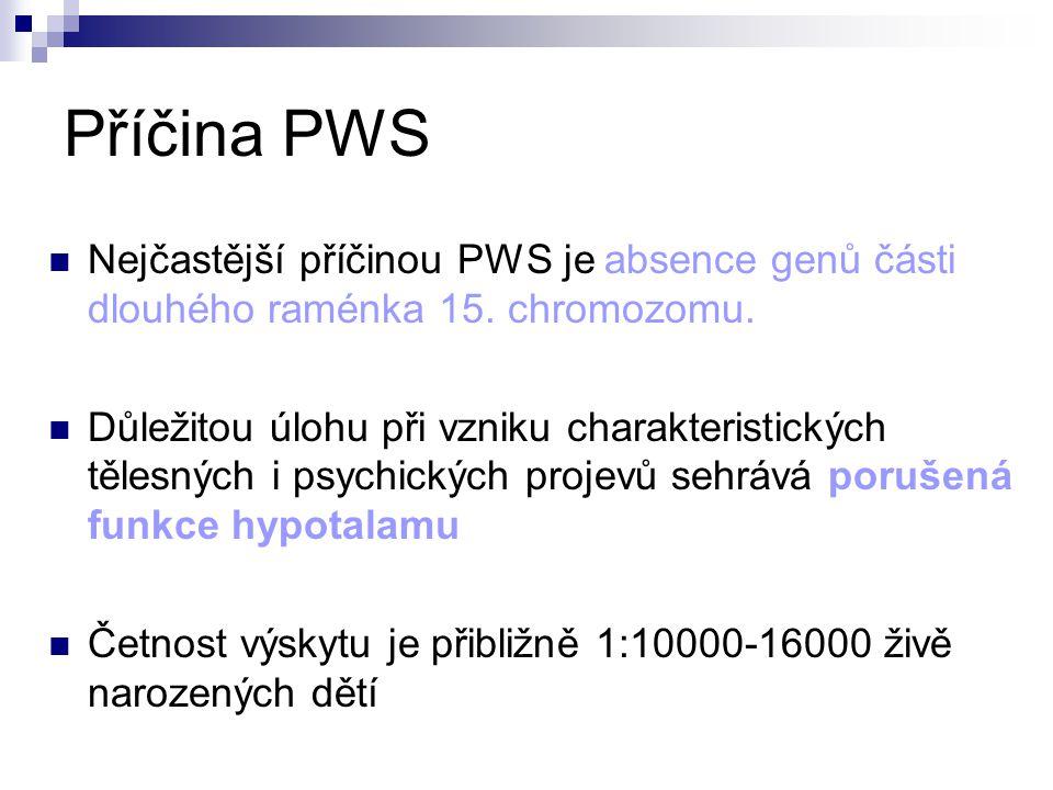 Příčina PWS Nejčastější příčinou PWS je absence genů části dlouhého raménka 15. chromozomu.