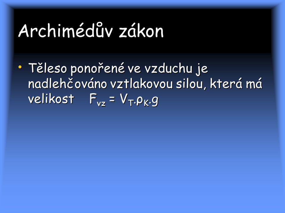 Archimédův zákon Těleso ponořené ve vzduchu je nadlehčováno vztlakovou silou, která má velikost Fvz = VT.ρK.g.