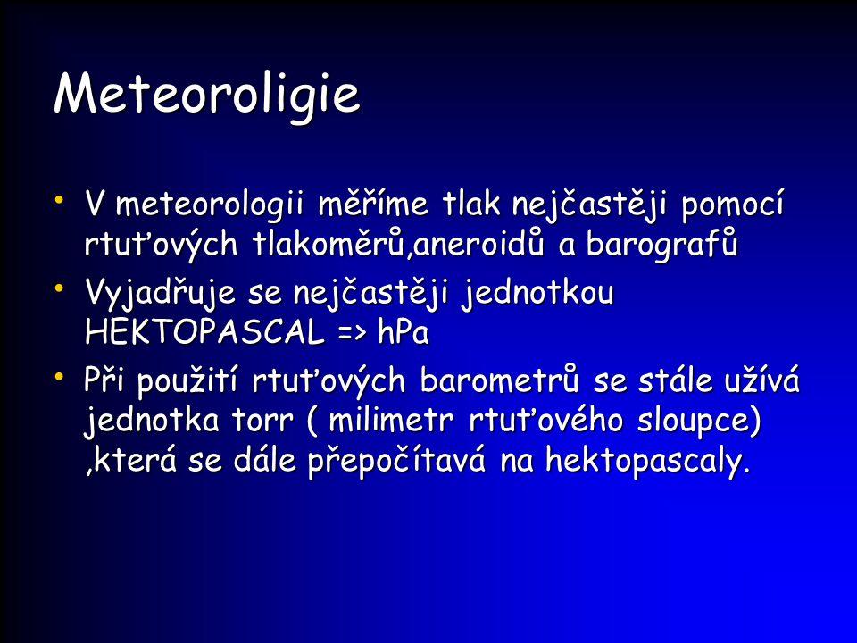 Meteoroligie V meteorologii měříme tlak nejčastěji pomocí rtuťových tlakoměrů,aneroidů a barografů.