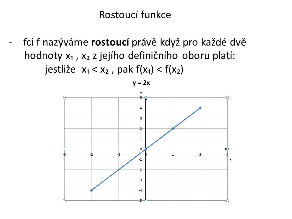 Rostoucí funkce fci f nazýváme rostoucí právě když pro každé dvě. hodnoty x₁ , x₂ z jejího definičního oboru platí: