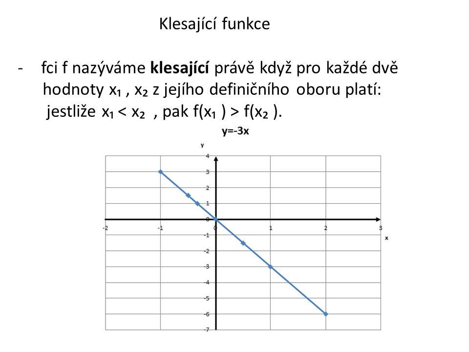 Klesající funkce fci f nazýváme klesající právě když pro každé dvě. hodnoty x₁ , x₂ z jejího definičního oboru platí:
