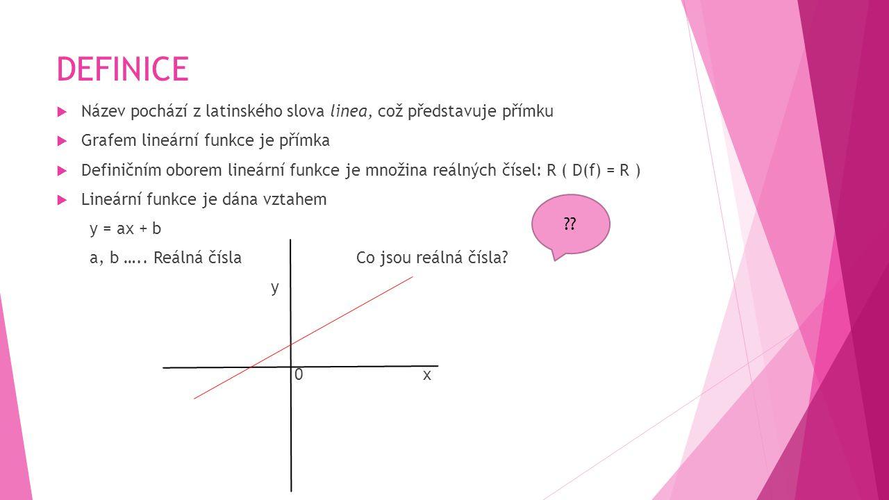 DEFINICE Název pochází z latinského slova linea, což představuje přímku. Grafem lineární funkce je přímka.