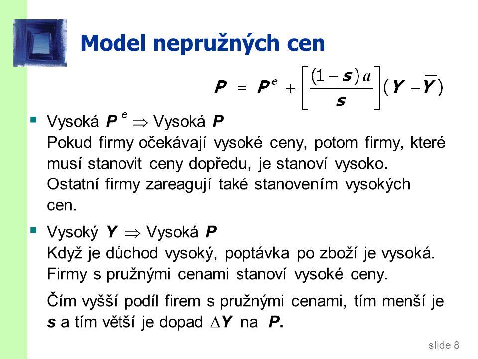 Model nepružných cen Nakonec odvodíme AS rovnici vyřešením pro Y : 9