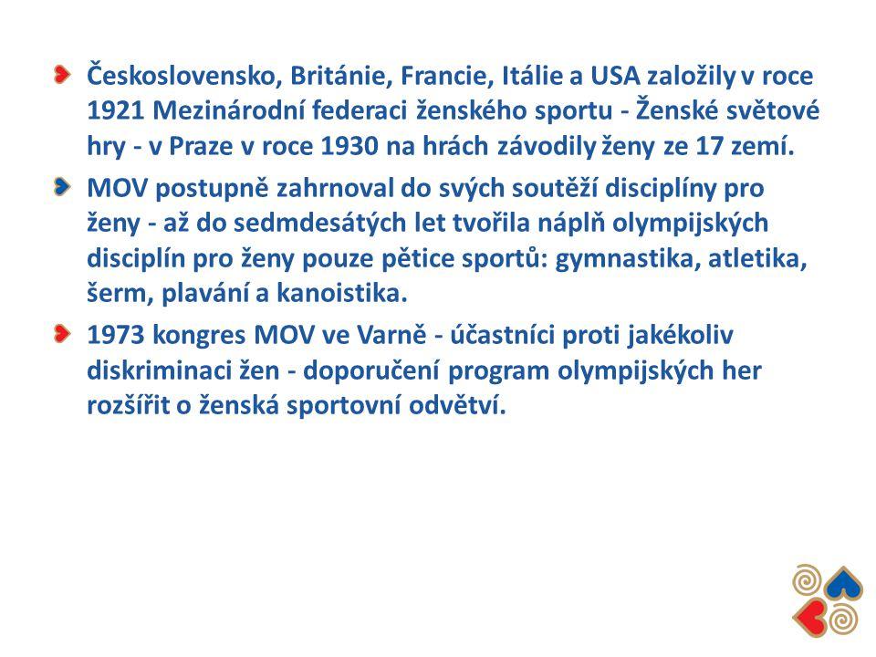 Československo, Británie, Francie, Itálie a USA založily v roce 1921 Mezinárodní federaci ženského sportu - Ženské světové hry - v Praze v roce 1930 na hrách závodily ženy ze 17 zemí.