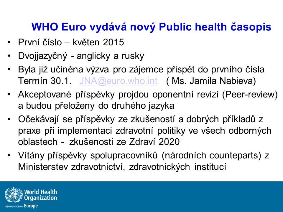 WHO Euro vydává nový Public health časopis