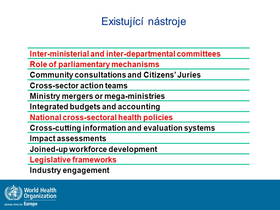 Existující nástroje Inter-ministerial and inter-departmental committees. Role of parliamentary mechanisms.