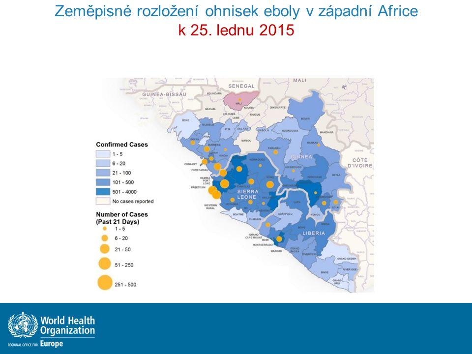 Zeměpisné rozložení ohnisek eboly v západní Africe