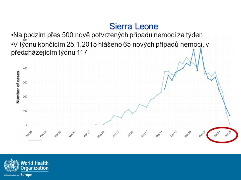Sierra Leone Na podzim přes 500 nově potvrzených případů nemoci za týden.