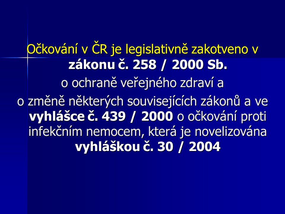 Očkování v ČR je legislativně zakotveno v zákonu č. 258 / 2000 Sb.