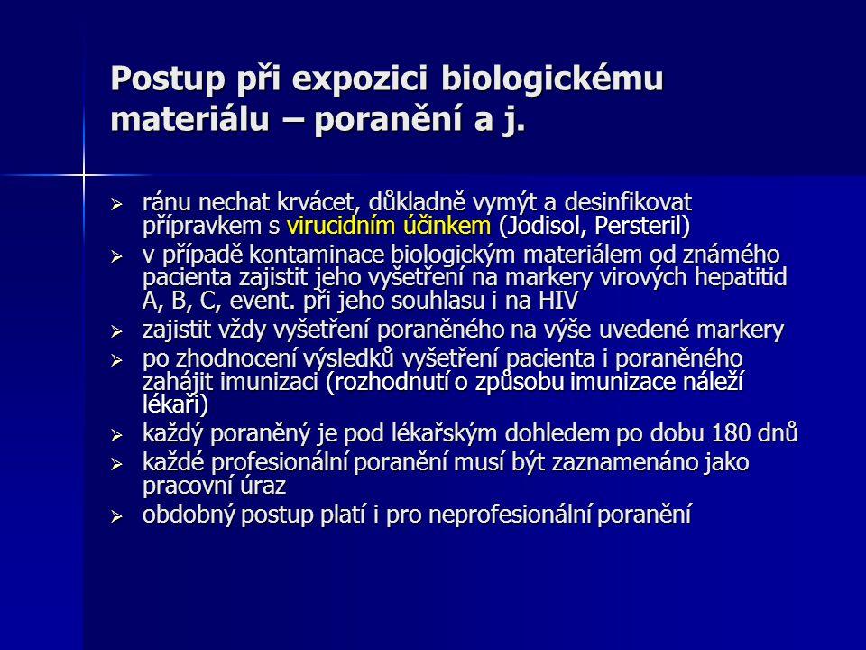 Postup při expozici biologickému materiálu – poranění a j.