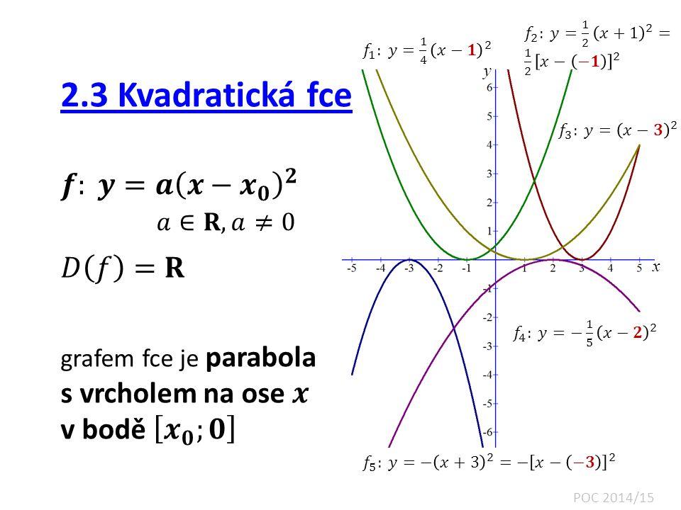 2.3 Kvadratická fce 𝒇: 𝒚=𝒂 𝒙− 𝒙 𝟎 𝟐 𝑎∈𝐑, 𝑎≠0 𝐷 𝑓 =𝐑