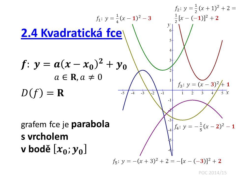 2.4 Kvadratická fce 𝒇: 𝒚=𝒂 𝒙− 𝒙 𝟎 𝟐 + 𝒚 𝟎 𝑎∈𝐑, 𝑎≠0 𝐷 𝑓 =𝐑 s vrcholem