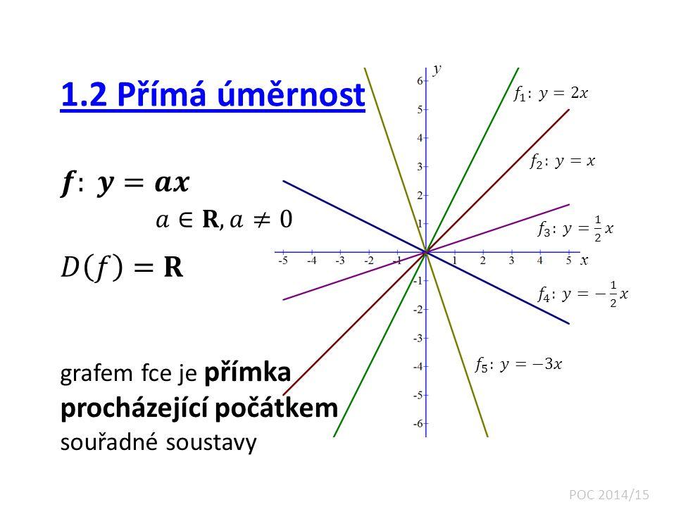 1.2 Přímá úměrnost 𝒇: 𝒚=𝒂𝒙 𝑎∈𝐑, 𝑎≠0 𝐷 𝑓 =𝐑