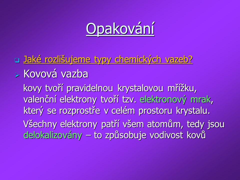Opakování Kovová vazba Jaké rozlišujeme typy chemických vazeb