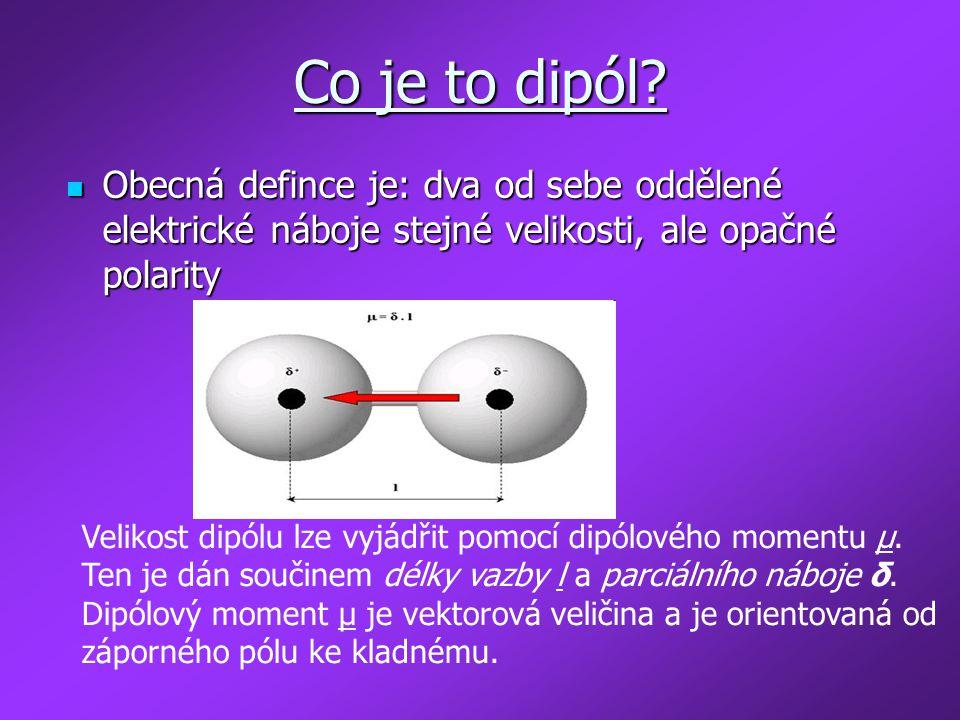 Co je to dipól Obecná defince je: dva od sebe oddělené elektrické náboje stejné velikosti, ale opačné polarity.