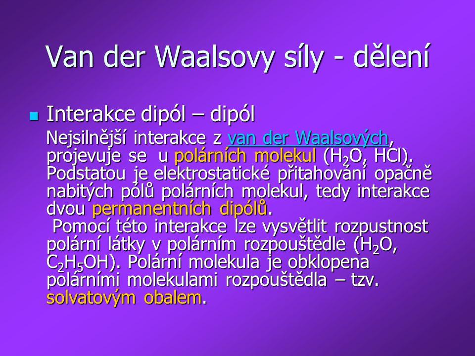 Van der Waalsovy síly - dělení
