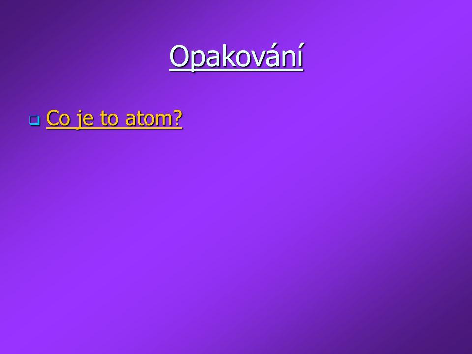Opakování Co je to atom