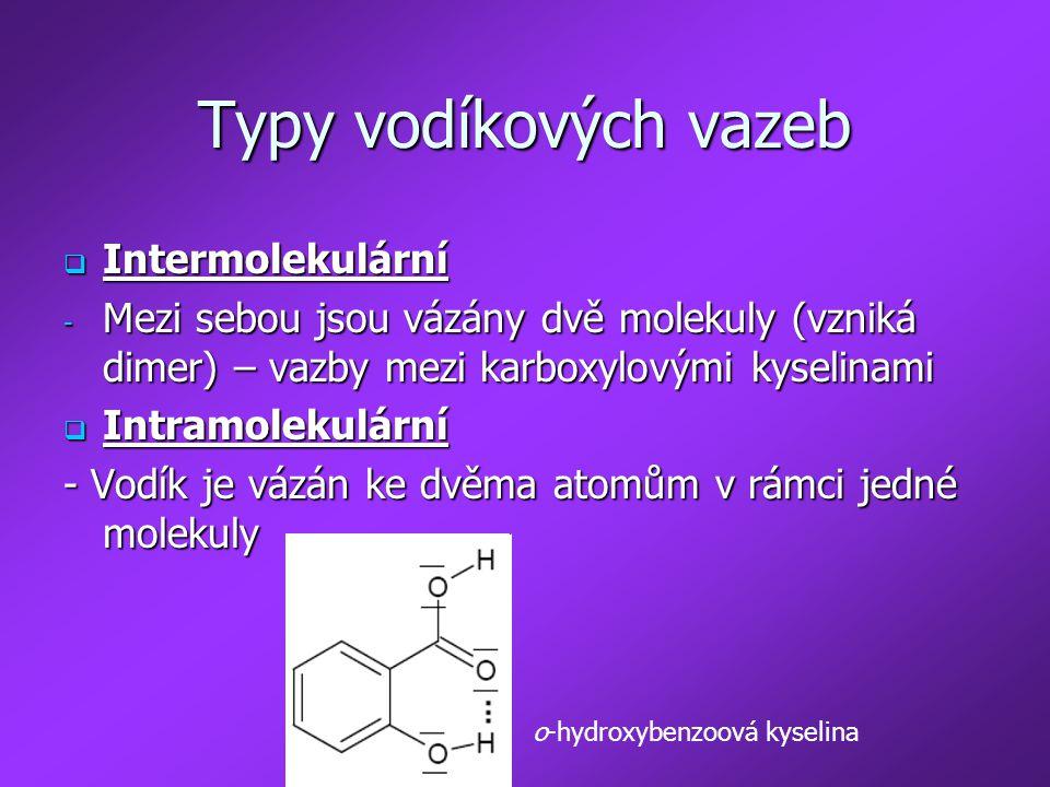 Typy vodíkových vazeb Intermolekulární