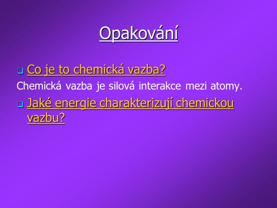 Opakování Co je to chemická vazba