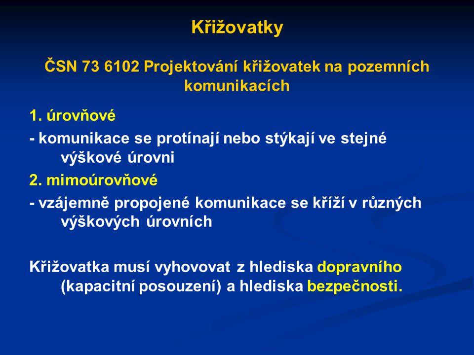 Křižovatky ČSN 73 6102 Projektování křižovatek na pozemních komunikacích