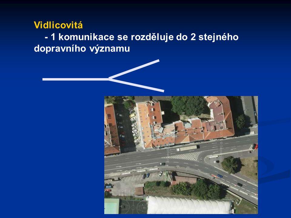 Vidlicovitá - 1 komunikace se rozděluje do 2 stejného dopravního významu