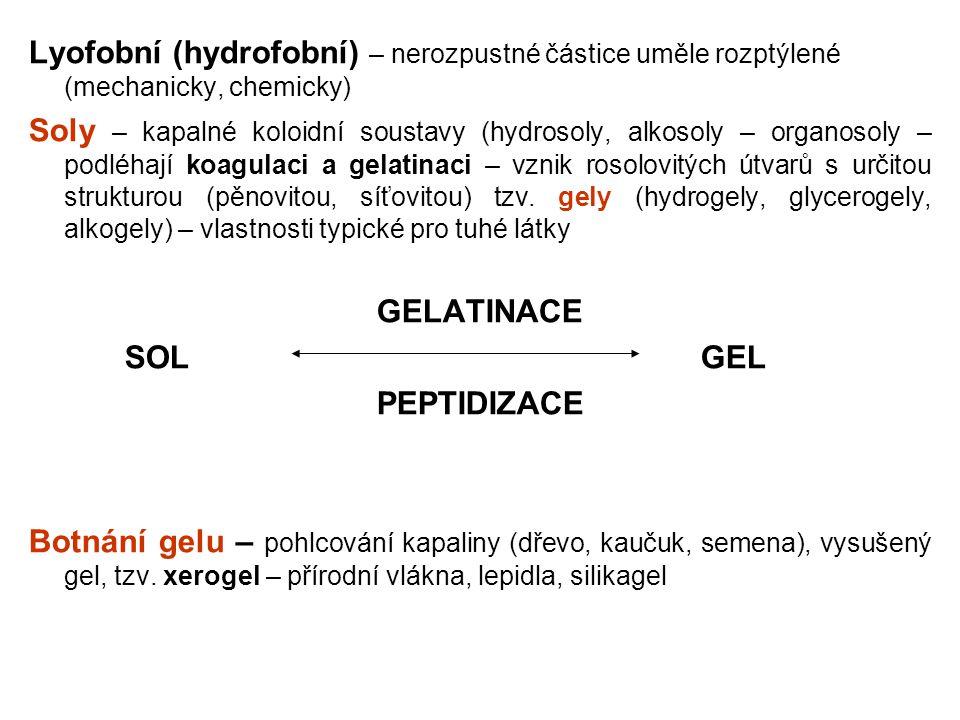 Lyofobní (hydrofobní) – nerozpustné částice uměle rozptýlené (mechanicky, chemicky)